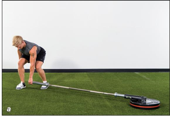 Figure 5.18 Landmine row to punch: grip the barbell; row; () punch; () reposition the feet.