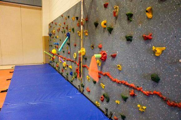 Figure 14.3 Climbing wall set up with a variety of sensory-engaging objects.