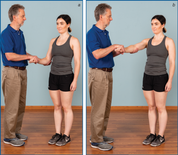 Figure 7.13Resisted wrist extension test: with (a) elbow flexed and (b) elbow straight.