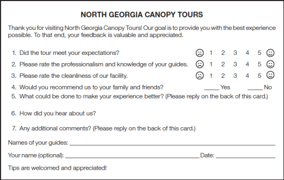 Figure 12.6 Participant evaluation for a zip line canopy tour.