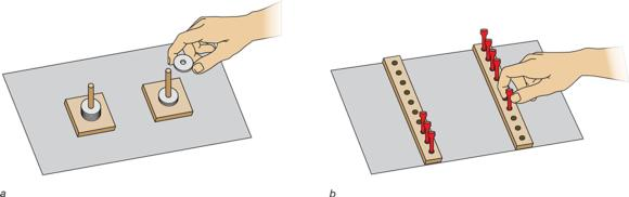 FIGURE 6.3 Alternative reciprocal-movement tasks used by Fitts (1954): (a) disc-transfer task, (b) pin-transfer task.
