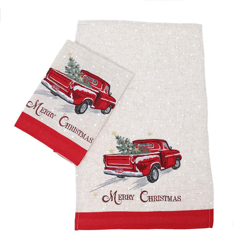 Manor Luxe Merry Christmas Truck Decorative Towel Set