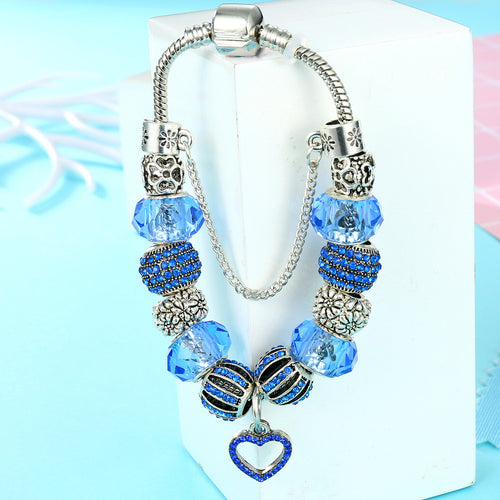 Vintage Silver Charm Bracelet with Blue Austrian Crystal Beads and Safety Chain