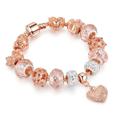Rose Gold Charm Bracelet Series with Austrian Crystal Beads