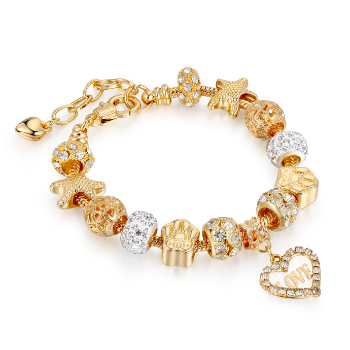 Popular Gold Charm Bracelet Series with Austrian Crystal Beads
