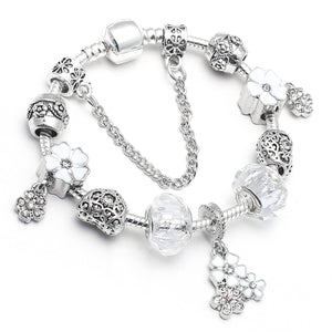 Vintage Silver Charm Bracelets with White Austrian Crystal Beads and Safety Chain
