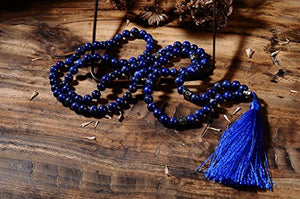 Lapis Buddhist Meditation Mala Prayer 108 Beads Necklace