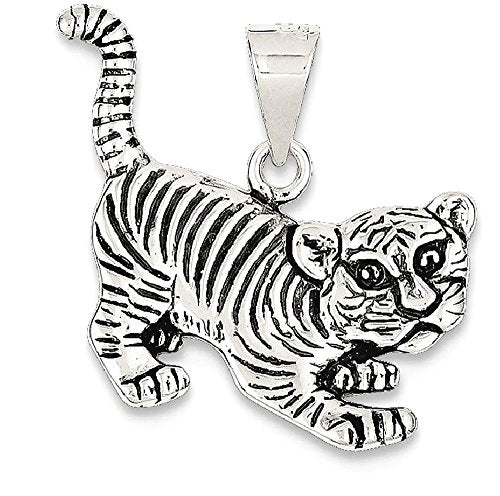 Tiger Pendant or Charm by ICE CARATS (925 Sterling Silver)