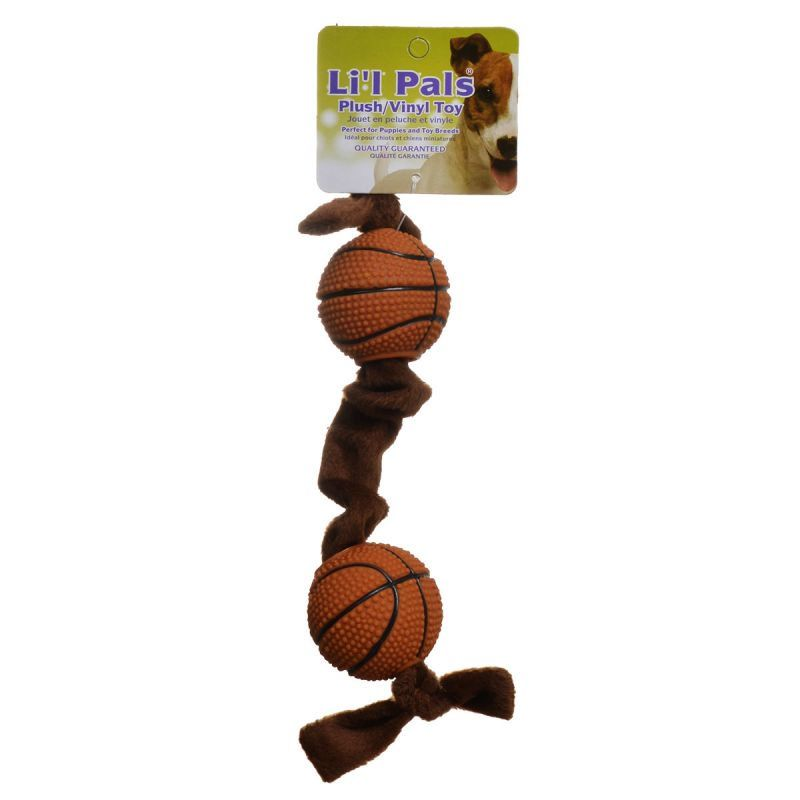 Li'l Pals Plush Basketball Plush Tug Dog Toy - Brown