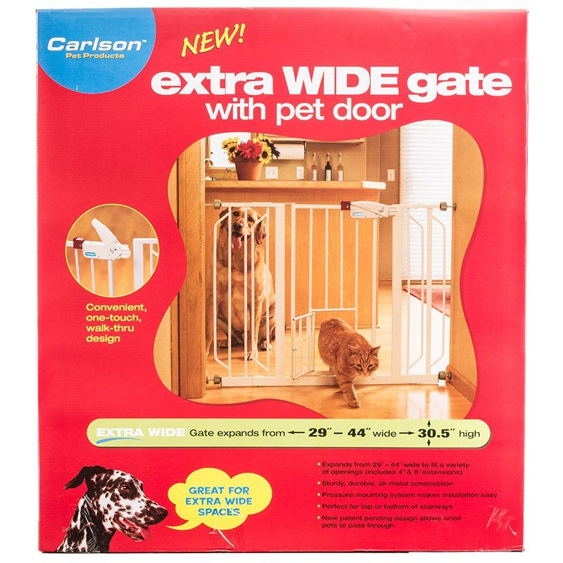 Carlson Pet Gates Extra Wide Walk Thru Gate Extension with Pet Door