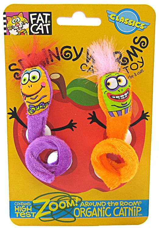 Fat Cat Springy Worm Catnip Toy - Assorted