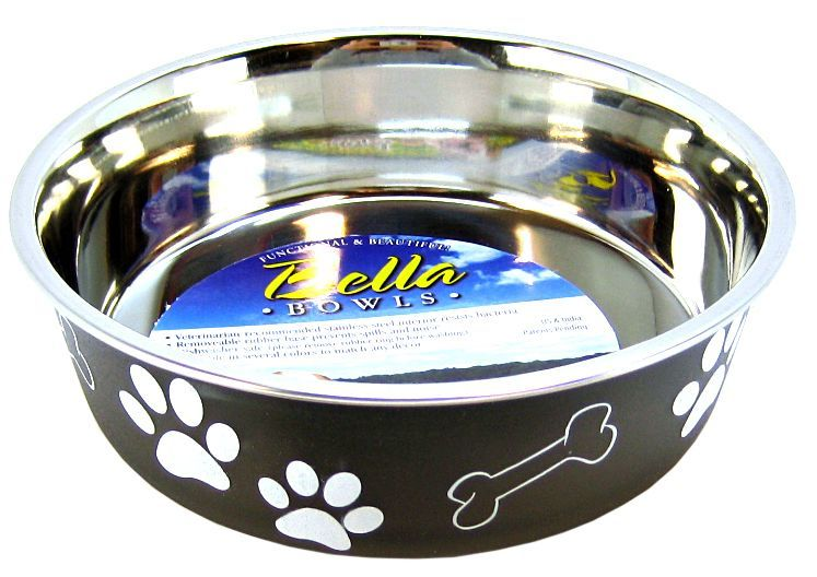 Loving Pets Stainless Steel & Espresso Dish with Rubber Base
