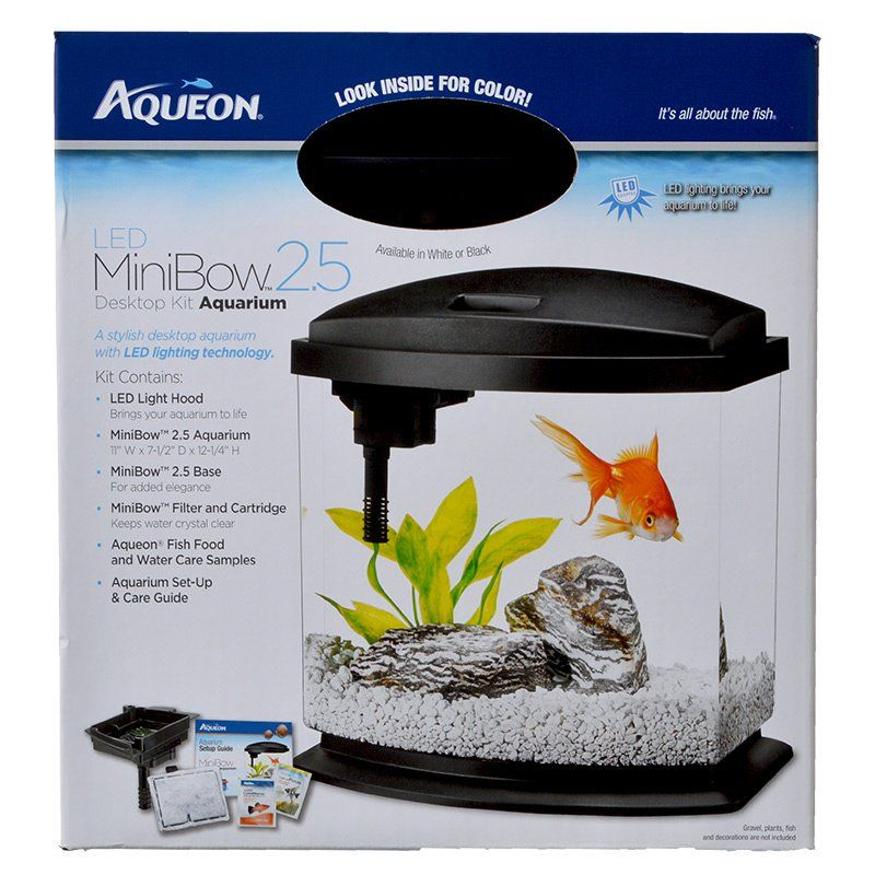 Aqueon LED Mini Bow Desktop Aquarium Kit - Black