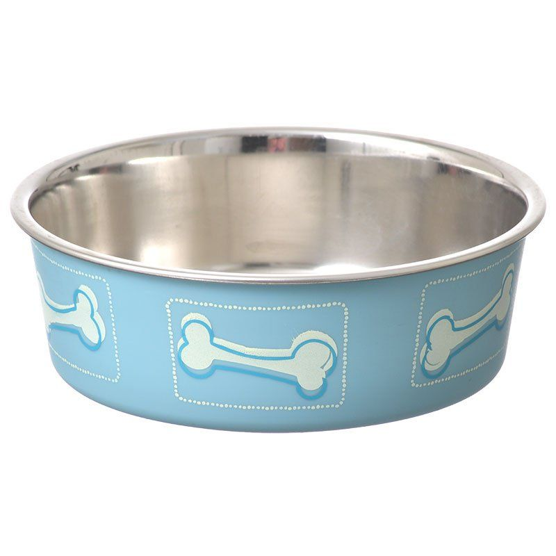 Loving Pets Stainless Steel & Coastal Blue Bella Bowl with Rubber Base
