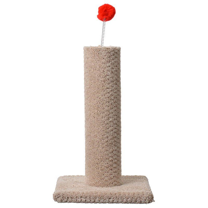 Classy Kitty Carpeted Cat Post with Spring Toy