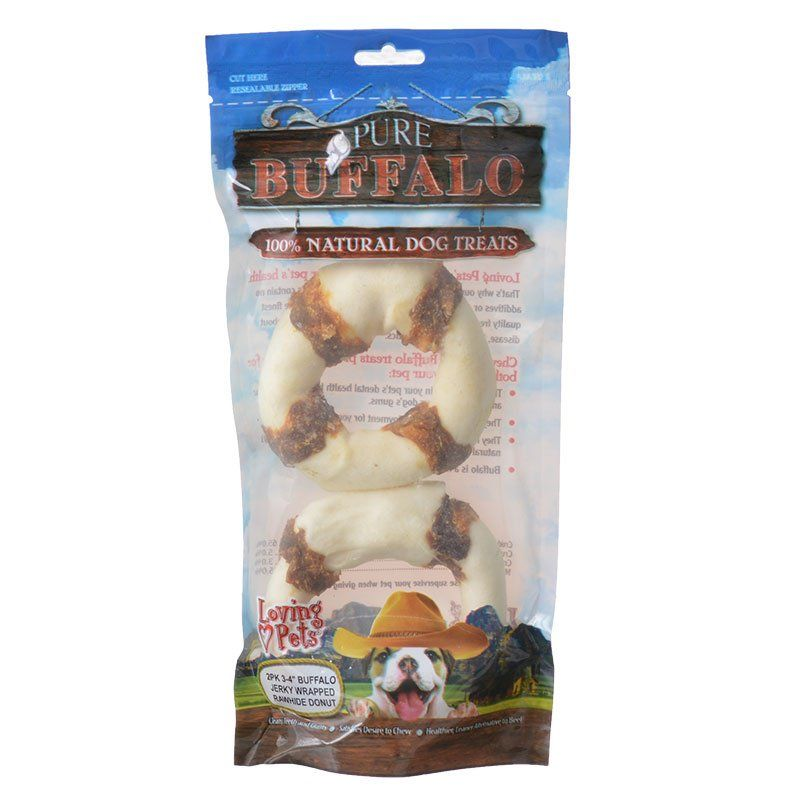 Loving Pets Pure Buffalo Jerky Wrapped Rawhide Donuts
