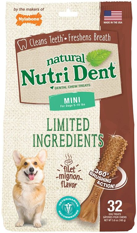 Nylabone Natural Nutri Dent Filet Mignon Dental Chews - Limited Ingredients