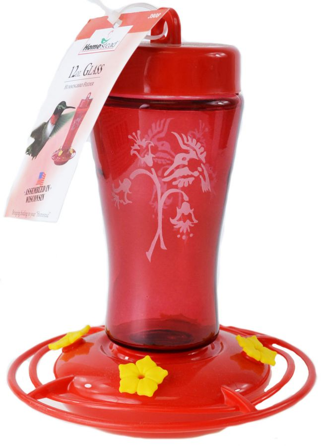 Homestead Etched Hardened Glass Hummingbird Feeder Red
