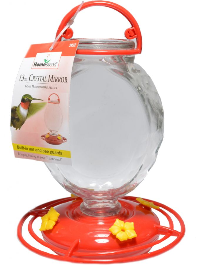 Homestead Crystal Mirror Glass Hummingbird Feeder