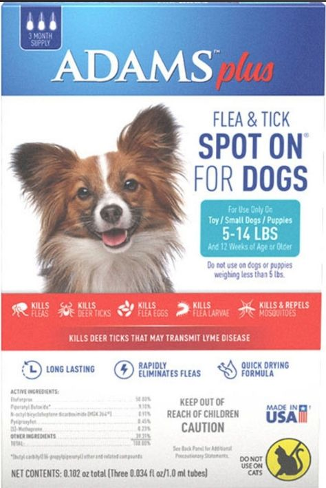 Adams Plus Flea and Tick Spot On for Small Dogs 5-14 lbs