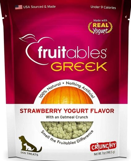Fruitables Greek Strawberry Yogurt Flavor Crunchy Dog Treats