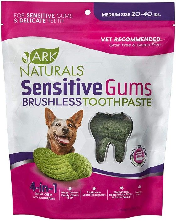 Ark Naturals Sensitive Gums Brushless Toothpaste 4-in-1 Dog Dental Chews Medium Breeds
