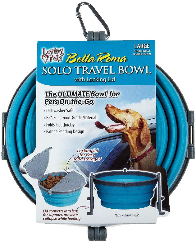 Loving Pets Bella Roma Blue Travel Bowl