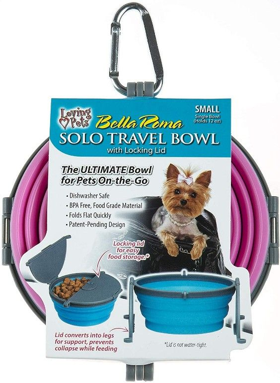 Loving Pets Bella Roma Pink Travel Bowl