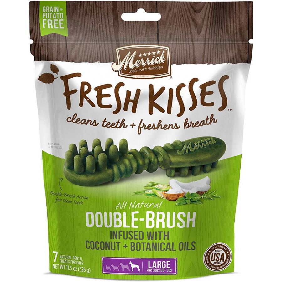 Merrick Fresh Kisses Coconut Oil Double-Brush Dental Treats - Large