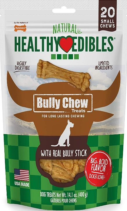 Nylabone Natural Healthy Edibles Bully Chew Dog Bone Treat - Small
