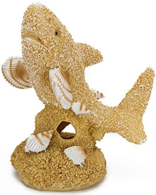 Penn Plax Sand and Shell Shark Aquarium Ornament