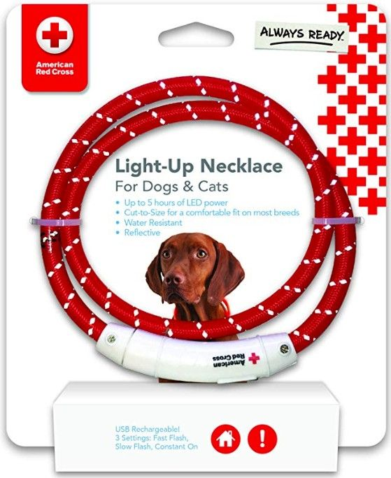 Penn-Plax American Red Cross LED Nylon Dog Necklace