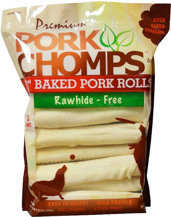 Pork Chomps Baked Pork Rolls Dog Treats - Large