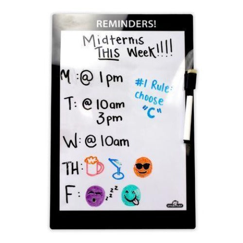 "Large Stickitlist - Peel & Stick Dry-Erase Board (8.5""x13"") w/marker - Simple black & white design, re-stickable & reusable self-adhesive honey-do to-do lists to organize, keep track - no magnets, tacks or damage!"