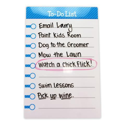 "Large Stickitlist - Peel & Stick Dry-Erase Board (8.5""x13"") w/marker - Simple purple, blue, and black & white design, re-stickable & reusable self-adhesive honey-do to-do lists to organize, keep track - no magnets, tacks or damage!"
