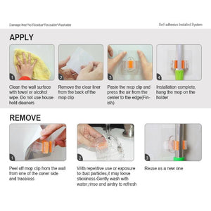 StickIt Hook Broom Holder installation and removal instructions