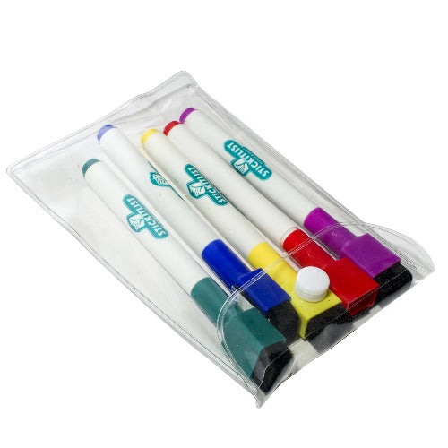 Dry-erase markers, red, blue, yellow, red, purple, for whiteboards, reusable, Stickitsolutions
