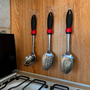 Save space and organize your RV's galley with StickIt Hooks