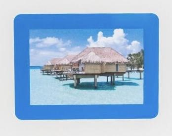 Peel & Stick Photo Frame - Picture Frames, wall art, reusable self adhesive: no nails or tape, Reposition 100s of times to use again & again, blue