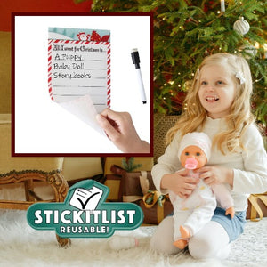"StickIt Reusable List – Red & Green Santa Christmas List – 5"" x 9"""