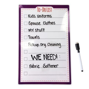 "Large Stickitlist - Peel & Stick Dry-Erase Board (8.5""x13"") w/marker - Simple purple design, re-stickable & reusable self-adhesive honey-do to-do lists to organize, keep track - no magnets, tacks or damage!"