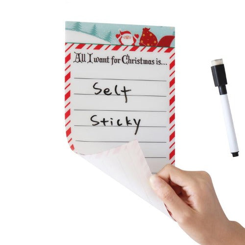 "Holiday Stickitlist - Peel & Stick Dry-Erase Boards w/Markers (5""x9"", 3-Pack) Design w/Santa, Reusable self Adhesive Santa/Christmas designed to do Lists to Organize, Keep Track - no Magnets, Tacks or Damage! Red & green"