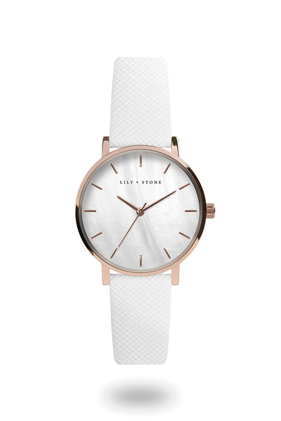 L+S - Capri Collection Watch - White MOP/Rose Gold