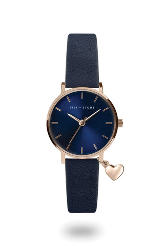 L+S - Dartmouth Charm Watch - Navy Sunray/ Rose Gold