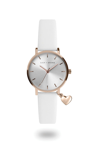 L+S - Dartmouth Charm Watch - White Sunray/ Rose Gold