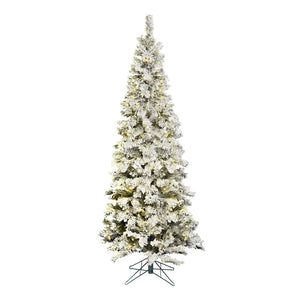 "7.5' x 36"" Flock Pacific 400LED WmWht Christmas tree"
