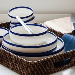 20pcs/set chinabone blue edge Ceramic bowl plates dinnerware sets kitchenware rice bowl dishes salad bowl plates fruit tray