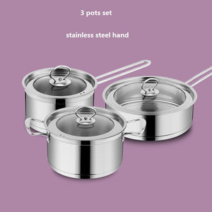 FREE SHIPPING casserole anti-hot pots set 2L+ 4 L + 2.5L pans COOKING POT STEAK FRYPAN stainless steel 24cm/20cm/16cm