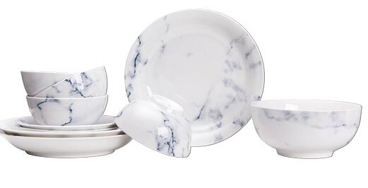 Marble texture Chinabone Ceramic Dinnerware sets rice bowl dish fruit tray bowl porcelain natural grain marble element