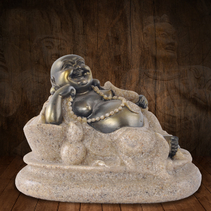 The nature Sandstone small Maitreya Buddha Statue Fashion Sculpture Resin Technology Hand Carved Figurine home Decoration 9x7x6